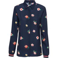 Bluzka z kontrastowymi paskami bonprix ciemnoniebieski z nadrukiem. Niebieskie bluzki z odkrytymi ramionami marki bonprix, z nadrukiem, biznesowe, z kontrastowym kołnierzykiem. Za 89,99 zł.