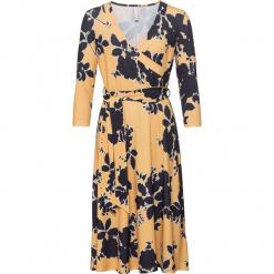 Sukienka bonprix żółto-czarny w kwiaty. Żółte sukienki letnie marki Mohito, l, z dzianiny. Za 149,99 zł.