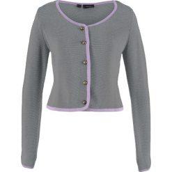 Sweter rozpinany ludowy, krótki fason, długi rękaw bonprix dymny szary - bez. Szare kardigany damskie bonprix. Za 32,99 zł.