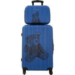 Kosmetyczki damskie: Zestaw w kolorze niebieskim – walizka, kosmetyczka