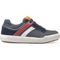 """Sneakersy """"Arzach"""" w kolorze granatowym. Niebieskie trampki chłopięce marki geox kids, z gumy. W wyprzedaży za 129,95 zł."""