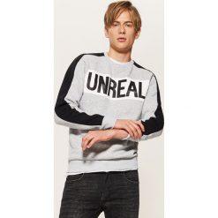 Bluza z napisem Unreal - Szary. Szare bluzy męskie rozpinane House, l, z napisami. Za 79,99 zł.