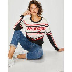 Wrangler - Sweter. Szare swetry klasyczne damskie marki Wrangler, na co dzień, m, z nadrukiem, casualowe, z okrągłym kołnierzem, mini, proste. Za 269,90 zł.