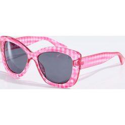 Okulary przeciwsłoneczne damskie aviatory: Okulary przeciwsłoneczne w kratkę – Różowy