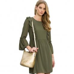 Sukienka w kolorze khaki. Brązowe sukienki marki Almatrichi, s, z okrągłym kołnierzem, midi, proste. W wyprzedaży za 179,95 zł.