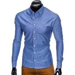 KOSZULA MĘSKA ELEGANCKA Z DŁUGIM RĘKAWEM K428 - JASNOGRANATOWA. Niebieskie koszule męskie Ombre Clothing, m, z długim rękawem. Za 49,00 zł.