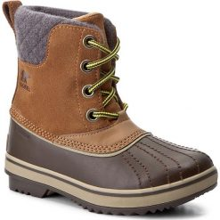 Buty zimowe chłopięce: Śniegowce SOREL – Youth Slimpack II Lace NY2416 Elk/Cordovan 286