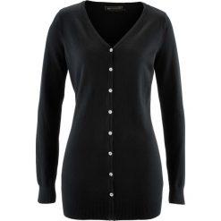 Długi sweter rozpinany bonprix czarny. Czarne swetry rozpinane damskie bonprix. Za 74,99 zł.