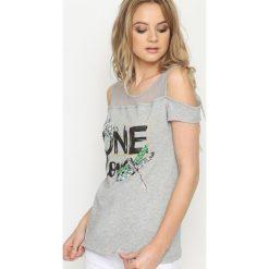 Szary T-shirt One Love. Szare bluzki asymetryczne Born2be, l. Za 39,99 zł.