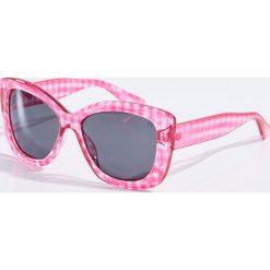 Okulary przeciwsłoneczne damskie: Okulary przeciwsłoneczne w kratkę – Różowy