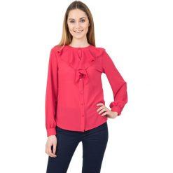 Koszule wiązane damskie: Koralowa koszula z żabotem przy dekolcie BIALCON