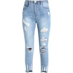 Missguided SINNER HIGH WAISTED AUTHENTIC RIPPED Jeans Skinny Fit blue. Szare rurki damskie marki Missguided, z elastanu. Za 149,00 zł.