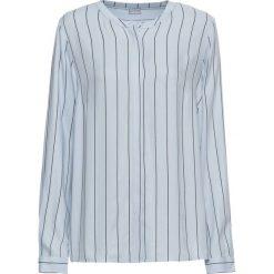 Bluzki damskie: Bluzka w paski bonprix pudrowy niebieski - czarny w paski