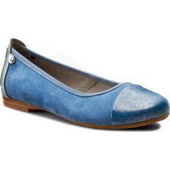 Baleriny EDEO - 2151-766/764/763 Niebieski/Popiel. Niebieskie baleriny damskie Edeo, z nubiku, na płaskiej podeszwie. W wyprzedaży za 169,00 zł.