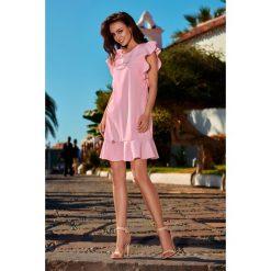 Sukienki: Wizytowa sukienka z falbankami pudrowy róż