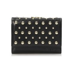 Portfele damskie: Skórzany portfel w kolorze czarnym - (S)12 x (W)9 cm