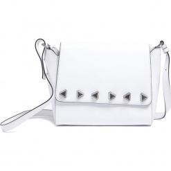 Skórzana torebka w kolorze białym - (S)27 x (W)22 x (G)10 cm. Białe torebki klasyczne damskie Tosca Blu, w paski, z materiału. W wyprzedaży za 389,95 zł.