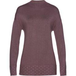 Sweter z ozdobnymi kamieniami bonprix brązowy. Brązowe golfy damskie marki bonprix. Za 44,99 zł.