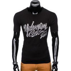 T-shirty męskie: T-SHIRT MĘSKI Z NADRUKIEM S955 - CZARNY