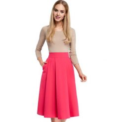 Spódniczki: Różowa Midi Spódnica z Kontrafałdami
