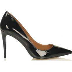 Czarne czółenka damskie. Czarne buty ślubne damskie marki Kazar, ze skóry, na wysokim obcasie, na obcasie. Za 469,00 zł.