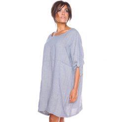 """Sukienki hiszpanki: Lniana sukienka """"Mia"""" w kolorze szaro-białym"""