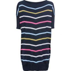 Sweter bonprix ciemnoniebieski w kolorowe paski. Niebieskie swetry klasyczne damskie bonprix, z dekoltem w łódkę. Za 109,99 zł.