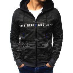 Bluzy męskie: Bluza męska camo rozpinana czarno-grafitowa z kapturem (bx3129)