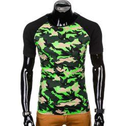 T-SHIRT MĘSKI Z NADRUKIEM S1009 - ZIELONY/MORO. Zielone t-shirty męskie z nadrukiem marki Ombre Clothing, m. Za 35,00 zł.