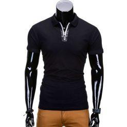 KOSZULKA POLO MĘSKA BEZ NADRUKU S664 - CZARNA. Czarne koszulki polo marki Ombre Clothing, m, z nadrukiem, z bawełny. Za 35,00 zł.