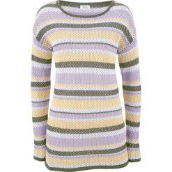 Swetry klasyczne damskie: Sweter w siatkowy wzór bonprix fiołkowy bez – oliwkowy w paski