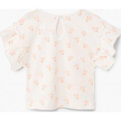 Mango Kids - Top dziecięcy Pepita 80-104 cm. Różowe bluzki dziewczęce bawełniane marki Mayoral, z okrągłym kołnierzem. W wyprzedaży za 29,90 zł.