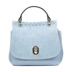 Torebki klasyczne damskie: Skórzana torebka w kolorze niebieskim – (S)21 x (W)23 x (G)13 cm