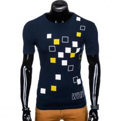 T-SHIRT MĘSKI Z NADRUKIEM S1000 - GRANATOWY. Czarne t-shirty męskie z nadrukiem marki Ombre Clothing, m, z bawełny, z kapturem. Za 29,00 zł.