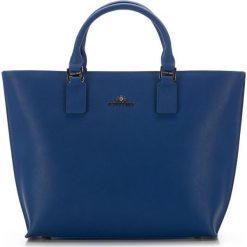 Torebka damska 36-4-073-N. Niebieskie torebki klasyczne damskie Wittchen, w paski, z materiału. Za 399,00 zł.