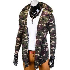 BLUZA MĘSKA Z KAPTUREM NARZUTKA B703 - KHAKI/MORO. Czarne bluzy męskie rozpinane marki Ombre Clothing, m, z bawełny, z kapturem. Za 79,00 zł.