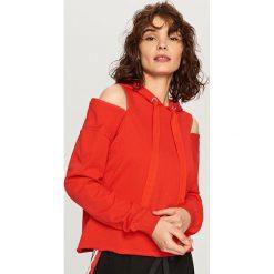 Bluzy damskie: Bluza z okrytymi ramionami – Czerwony