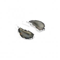 Kolczyki Plastry Agatu Czarne srebro. Czarne kolczyki damskie Brazi druse jewelry, z agatem, srebrne. Za 170,00 zł.