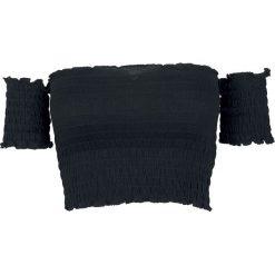 Urban Classics Ladies Cropped Cold Shoulder Smoke Top Koszulka damska czarny. Czarne bluzki z odkrytymi ramionami Urban Classics, xl, z kołnierzem typu carmen. Za 42,90 zł.