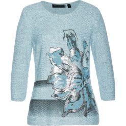 Swetry klasyczne damskie: Sweter bonprix niebiesko- szaro – srebrny melanż