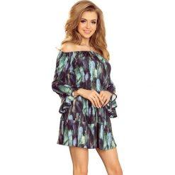 Sukienki: Wzorzysta Dziewczęca Sukienka z Falbankami w Zielone Pióra