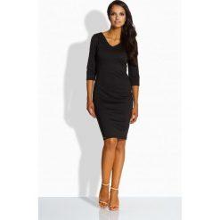 Sukienki: Kobieca dopsowana sukienka czarny
