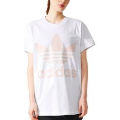 Adidas Originals Koszulka BIG TREFOIL TEE biały r. S (BR9825). Szare topy sportowe damskie marki adidas Originals, na co dzień, z nadrukiem, z bawełny, casualowe, z okrągłym kołnierzem, proste. Za 155,06 zł.
