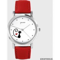 Zegarek - Kotek, serce - czerwony, skórzany. Czerwone zegarki damskie Pakamera. Za 139,00 zł.