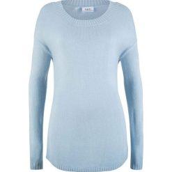 Sweter z dekoltem w łódkę bonprix pudrowy niebieski. Niebieskie swetry klasyczne damskie bonprix, z dekoltem w łódkę. Za 54,99 zł.