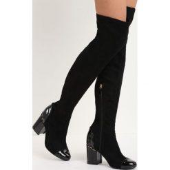 Czarne Zamszowe Kozaki Reach the Sky. Czarne buty zimowe damskie marki Born2be, z materiału, z okrągłym noskiem, na wysokim obcasie, na obcasie. Za 69,99 zł.