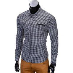 KOSZULA MĘSKA W KRATĘ Z DŁUGIM RĘKAWEM K319 - CZARNA. Brązowe koszule męskie na spinki marki Ombre Clothing, m, z aplikacjami, z kontrastowym kołnierzykiem, z długim rękawem. Za 59,00 zł.