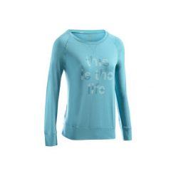 Koszulka długi rękaw Gym & Pilates 500 damska. Niebieskie bluzki sportowe damskie marki DOMYOS, l, z bawełny. Za 39,99 zł.