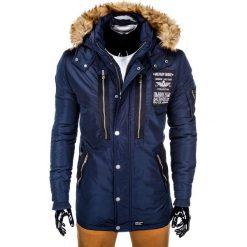 KURTKA MĘSKA ZIMOWA PARKA C360 - GRANATOWA. Czarne kurtki męskie zimowe marki Ombre Clothing, m, z bawełny, z kapturem. Za 189,00 zł.
