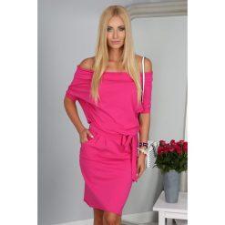 Sukienka Amarantowa  z wiązaniem 9978. Czerwone sukienki Fasardi, l. Za 59,00 zł.